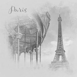 Typisch Parijs | aquarel stijl monochroom