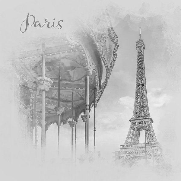 Typisch Parijs   aquarel stijl monochroom van Melanie Viola