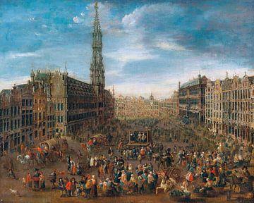 École flamande, Bourse sur le grand marché de Bruxelles - vers 1670 sur Atelier Liesjes