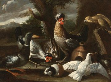 Een papegaai, kippen, een eend en tortelduiven, samen met een konijn en een cavia in een landschap,  van