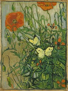Vincent van Gogh. Vlinder en klaprozen van