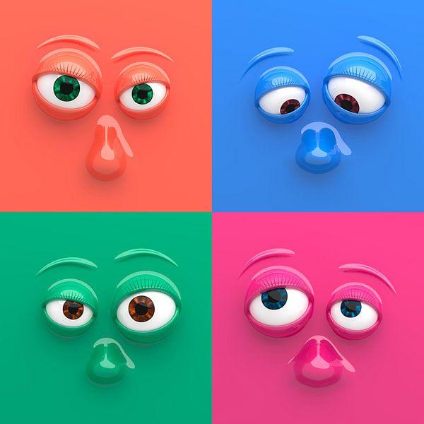 Vier grappige gezichten van Jörg Hausmann