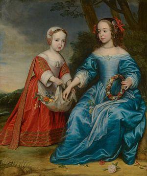 Dubbelportret van prins Willem III en zijn tante Maria prinses van Oranje als kind - Honthorst