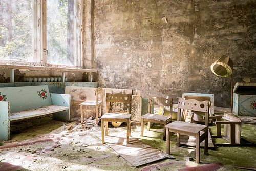 Kinderstoeltjes in Pripyat - Chernobyl.