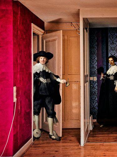 Modern interieur met Rembrandt's Marten en Oopjen