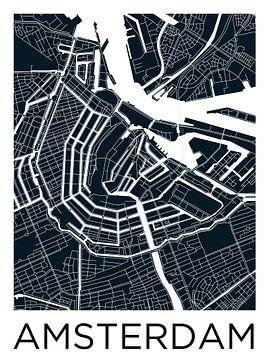 Anneau de canal d'Amsterdam Plan de la ville ZwartWit sur - Wereldkaarten.shop -