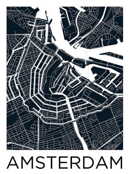 Amsterdam Grachtengordel | Stadskaart ZwartWit van - Wereldkaarten.shop -