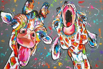 Zingende giraffen van Vrolijk Schilderij