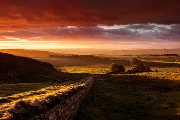 Zonsopgang Muur van Hadrianus Engeland van