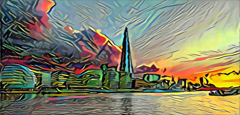 Picasso-stijl Schilderij Theems en Skyline van Londen van Slimme Kunst.nl