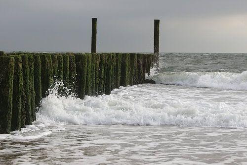 golfbrekers met golven op het strand