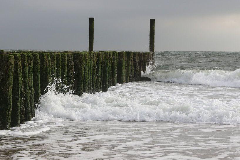 golfbrekers met golven op het strand van Frans Versteden