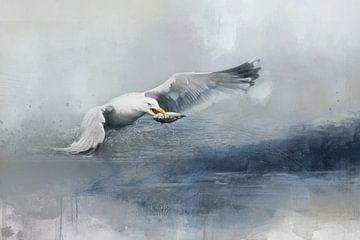 Möwe im Wasser Aquarellmalerei von Diana van Tankeren