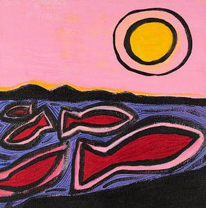 vissen en de zon (2) van Ivonne Sommer