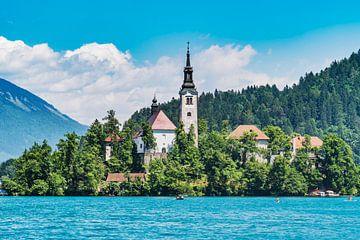 Kerk van de Maagd Maria in het meer van Bled, Slovenië van Gunter Kirsch