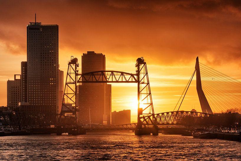 Sonnenuntergang Erasmus-Brücke | Rotterdam von Menno Verheij / #roffalove