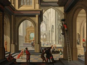 Beeldenstorm in een kerk, Dirck van Delen