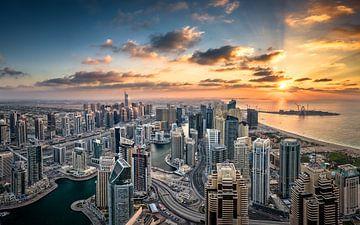 Dubai Marina Sunset van Martijn Kort