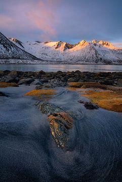 Wunderschöner Sonnenaufgang auf Senja in Norwegen. von Jos Pannekoek