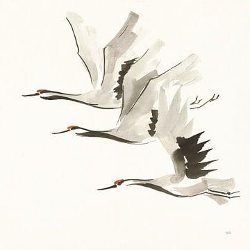 Zen Cranes II Warm, Chris Paschke von Wild Apple