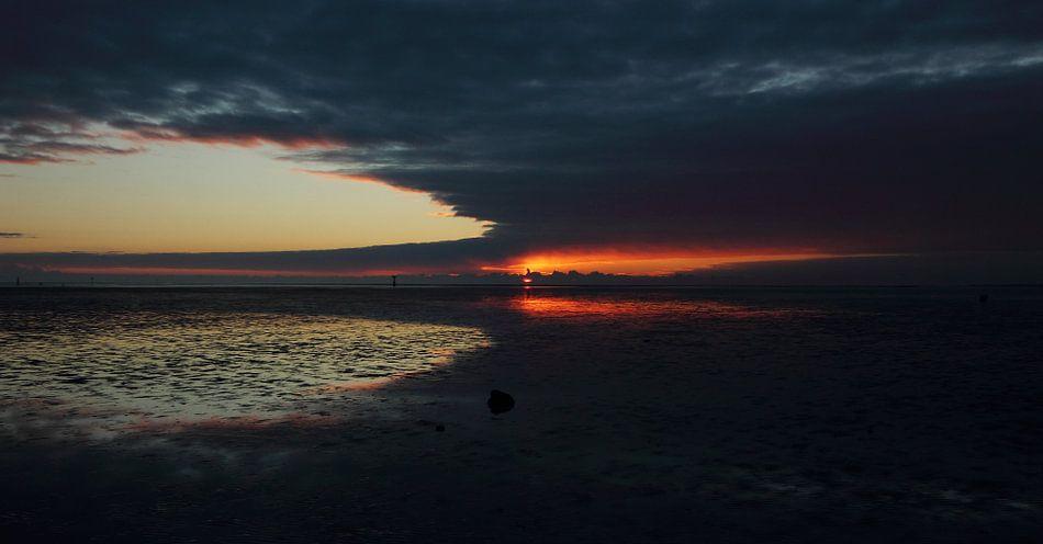 Zonsondergang op Ameland van Rinnie Wijnstra