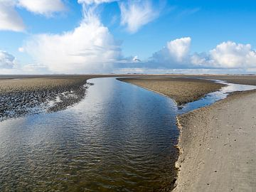 Slenk door de drooggevallen Waddenzee bij Terschelling