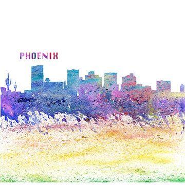 Phoenix Arizona Skyline Silhouette Impressionistisch van Markus Bleichner