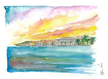 Gustavia St Barts Waterkant bij zonsondergang in de Caribische Zee van Markus Bleichner
