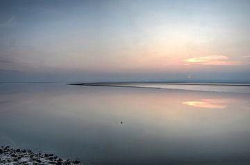 Zonsondergang boven het wad bij Morecambe van