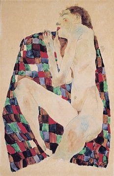 Weiblicher Akt auf kariertem Tuch , Egon Schiele -1911 von Atelier Liesjes