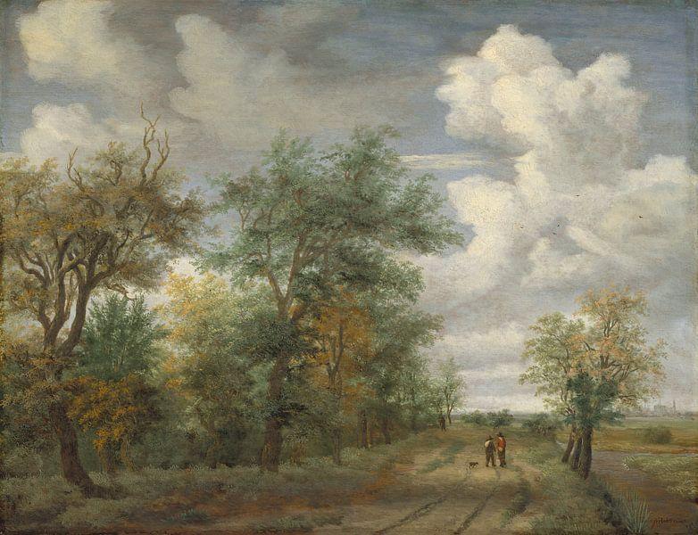 Eine Waldlandschaft mit Figuren, Meindert Hobbema von Meesterlijcke Meesters