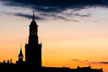 Silhouette van de skyline van Kampen van Sjoerd van der Wal