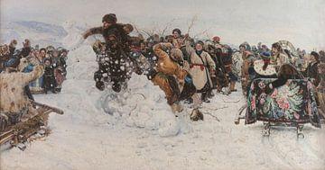 Eine Schneestadt zum Einsturz bringen, 1891 von Atelier Liesjes
