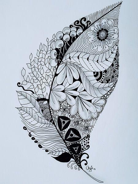 Zentangle Kunst Veer van Anja  Bulté