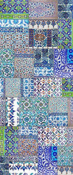 Collage van antieke Iznik tegels uit Istanbul, Turkije van Eyesmile Photography