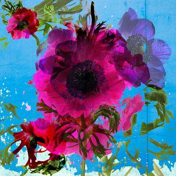 Collage rosa Anemonen von Anita van Kol