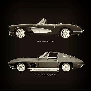 Chevrolet Corvette C1 1960 en Chevrolet Corvette Stingray 427 1967