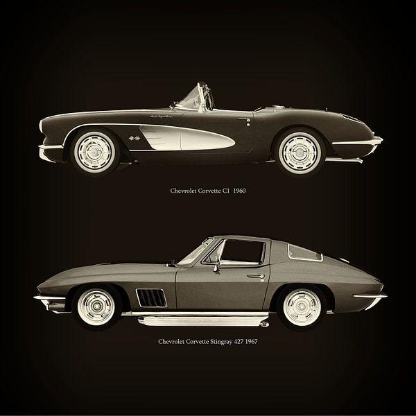 Chevrolet Corvette C1 1960 en Chevrolet Corvette Stingray 427 1967 van Jan Keteleer