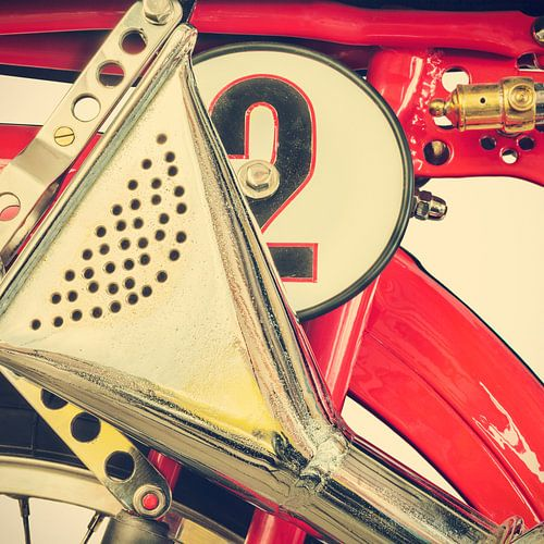 Detail van een klassieke Ducati Cucciolo motorfiets