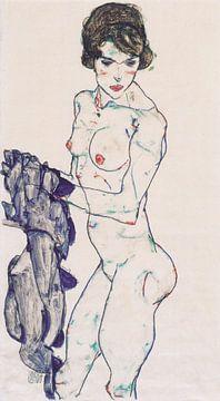 Stehender weiblicher Akt mit blauem Tuch, Egon Schiele - 1914 von Atelier Liesjes