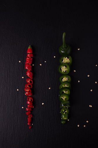 twee gekleurde pepers 1 van 3