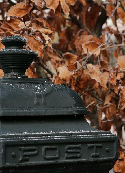 Groene brievenbus in de winter van Corry Husada-Ghesquiere