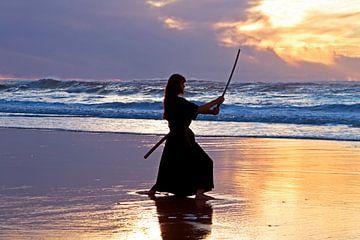 Weibliche Samurai-Kriegerin mit japanischem Schwert (Katana) am Strand bei Sonnenuntergang von Nisangha Masselink