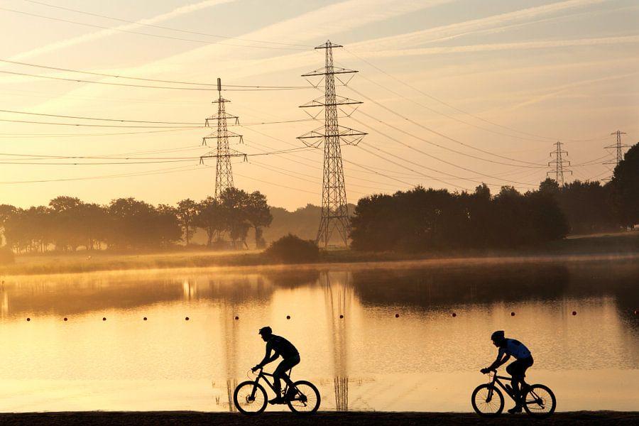 Mountainbikers in landschap