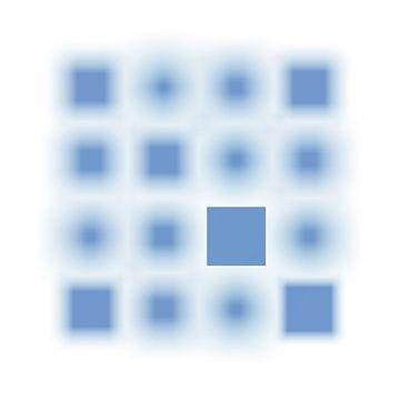 Gefocuste Series Vierkanten lichtblauw van Jörg Hausmann