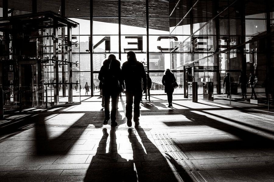 Zwart-wit Centraal Station Rotterdam
