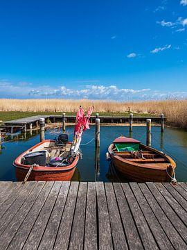 Vissersboten in de haven van Althagen op Fischland-Darß van Rico Ködder