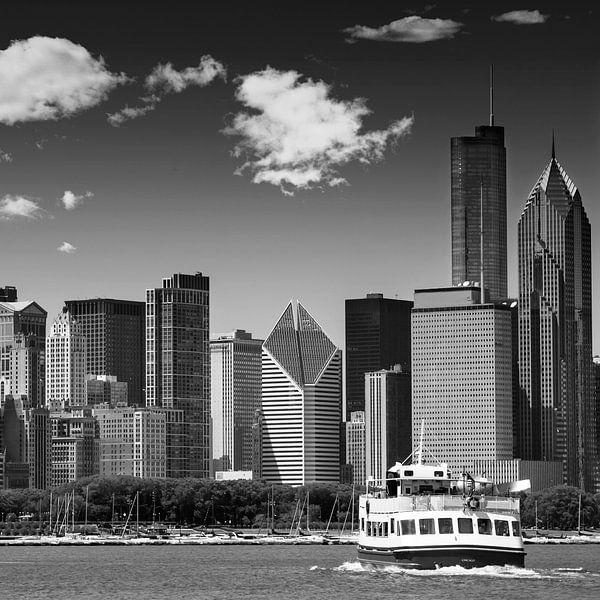 Skyline van CHICAGO | zwart-wit  van Melanie Viola