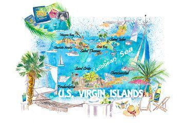 US Virgin Islands Illustrierte Reisekarte mit Straßen und Highlights von Markus Bleichner