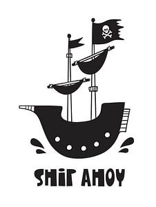 Kinderkamer Zwart Wit - Sea Adventure Ship Ahoy –